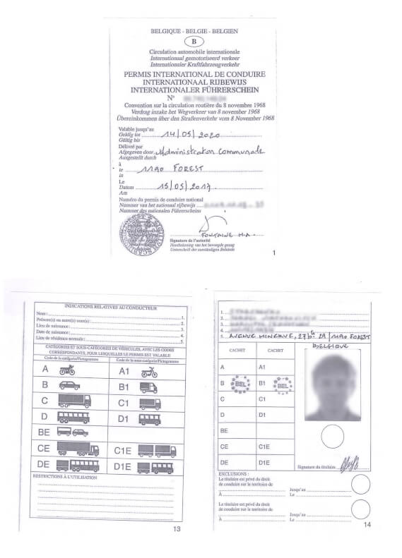 A Belgian driver's license before translation